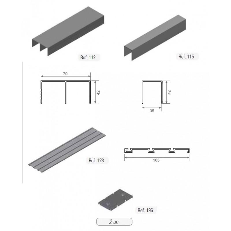Kit de gu as de tres carriles de 2m 3m 4m akarpinteros for Carriles de aluminio para toldos